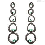 6.4 Ct Natural Diamond Emerald 925 Sterling Silver Vintage Inspire Earrings