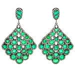 Rose Cut Earrings 6.5 Ct Natural Certified Diamond Emerald 925 Sterling Silver Office Wear