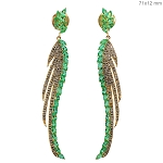 Uncut Earrings 2 Ct Natural Certified Diamond Emerald 925 Sterling Silver Special Occasion