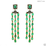 Victorian Earrings 2.25 Ct Natural Certified Diamond Emerald 925 Sterling Silver Anniversary