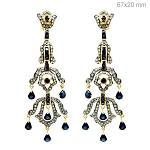 Vintage Drop Earrings 3 Ct Natural Certified Diamond Blue Sapphire 925 Sterling Silver Weekend