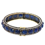 Vintage Tennis Bracelet 4 Ct Natural Certified Diamond Blue Sapphire 925 Sterling Silver Weekend
