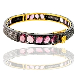 Antique Diamond Tennis Bracelet 5.25 Ct Natural Certified Diamond Pink Tourmaline 925 Sterling Silver Workwear