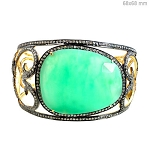 Vintage Bracelets 5 Ct Natural Certified Diamond Chrysoprase 925 Sterling Silver Everyday