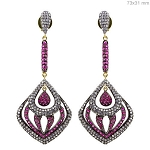 Antique Drop Earrings 3.45 Ct Natural Certified Diamond Ruby 925 Sterling Silver Everyday