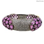 Victorian Bracelet 10 Ct Natural Certified Diamond Pink Sapphire 925 Sterling Silver Workwear
