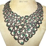 Uncut Diamond Necklace Sets 40 Ct Natural Certified Diamond Emerald 925 Sterling Silver Vacation