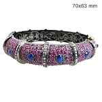 Antique Bracelets 1 Ct Natural Certified Diamond Ruby Sapphire 925 Sterling Silver Festive