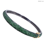 Rose Cut Diamond Bracelet 0 Ct Natural Certified Diamond Emerald 925 Sterling Silver Anniversary