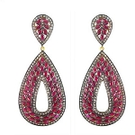 Uncut Earrings 2.5 Ct Natural Certified Diamond Ruby 925 Sterling Silver Anniversary