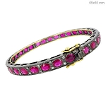 Antique Diamond Bracelet 1 Ct Natural Certified Diamond Ruby 925 Sterling Silver Office Wear