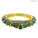 Antique Tennis Bracelet 5.5 Ct Natural Certified Diamond Emerald 925 Sterling Silver Engagement