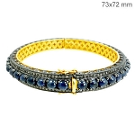 Rose Cut Diamond Bracelet 3.5 Ct Natural Certified Diamond Sapphire 925 Sterling Silver Weekend