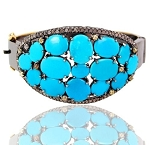 Vintage Bracelets 2.5 Ct Natural Certified Diamond Turquoise 925 Sterling Silver Office Wear