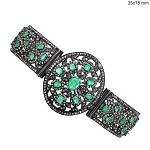 Antique Bracelets 8.15 Ct Natural Certified Diamond Emerald 925 Sterling Silver Jewelry Anniversary