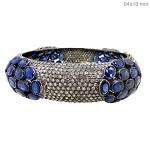 Art Deco Diamond Bracelet 10 Ct Natural Certified Diamond Blue Sapphire 925 Sterling Silver Jewelry Special Occasion