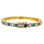 Vintage Diamond Tennis Bracelet 1.3 Ct Natural Certified Diamond Emerald 925 Sterling Silver Festive