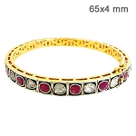 Vintage Bracelets 1.3 Ct Natural Certified Diamond Ruby 925 Sterling Silver Jewelry Workwear