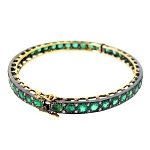 Antique Bracelets 0.75 Ct Natural Certified Diamond Emerald 925 Sterling Silver Jewelry Everyday