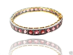 0.75 Ct Natural Diamond Tourmaline 925 Sterling Silver Vintage Inspire Bracelet