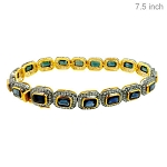 Antique Diamond Bracelet 4.5 Ct Natural Certified Diamond Blue Sapphire 925 Sterling Silver Wedding