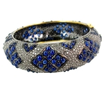 Art Deco Diamond Bracelet 6 Ct Natural Certified Diamond Blue Sapphire 925 Sterling Silver Festive