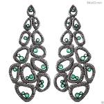 Antique Earrings 10 Ct Natural Certified Diamond Emerald 925 Sterling Silver Anniversary