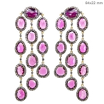 6 Ct Natural Diamond Pink Tourmaline 925 Sterling Silver Vintage Earrings