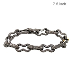 Victorian Bracelet 13 Ct Natural Certified Diamond 925 Sterling Silver Festive