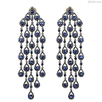 13.5 Ct Natural Diamond Blue Sapphire 925 Sterling Silver Vintage Earrings