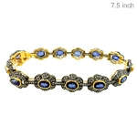 Antique Bracelets 4 Ct Natural Certified Diamond Blue Sapphire 925 Sterling Silver Everyday