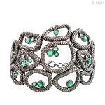 Art Deco Diamond Bracelet 9.5 Ct Natural Certified Diamond Emerald 925 Sterling Silver Anniversary