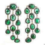 Vintage Drop Earrings 7 Ct Natural Certified Diamond Emerald 925 Sterling Silver Festive