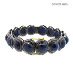 Vintage Bracelets 4 Ct Natural Certified Diamond Blue Sapphire 925 Sterling Silver Special Occasion