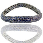 Polki Bracelet 0 Ct Natural Certified Diamond Blue Sapphire 925 Sterling Silver Jewelry Everyday