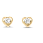 0.25 Ct Real Diamond 14K Yellow Gold Wedding Heart Earring