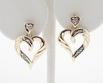 0.20 Ct Real Diamond 14K Solid Yellow Gold Wedding Heart Earring