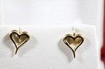 Natural Diamond 14K Solid Gold Gold Heart Earrings