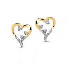 0.30 Ct Hi-Si2 Natural Diamond 14K Solid Gold Heart Earrings