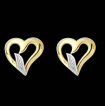 Ij-Si1 Natural Diamond 14K Solid Yellow Gold Heart Earrings
