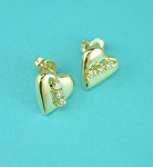 0.15 Ct Natural Diamond 14K Yellow Gold Wedding Heart Earrings