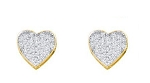 0.55 Ct Natural Diamond 14K Gold Anniversary Heart Earrings