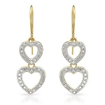 0.55Ct Ij-Si2 Natural Diamond 14K Gold Anniversary Heart Earrings