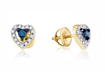 0.40 Ct Ij-Si1 Natural Diamond B.Sapphire 14K Gold Heart Earrings