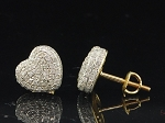 1.75 Ct Natural Diamond 14K Yellow Gold Heart Earrings