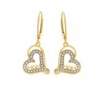 0.40 Ct Natural Diamond 14K Gold Wedding Heart Earrings