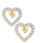0.50 Ct Ij-Si2 Natural Diamond 14K Gold Wedding Heart Earrings