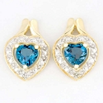 0.42 Ct Ij-Si2 Natural Diamond B.Topaz 14K Gold Heart Earrings