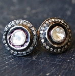 Vintage Diamond Earrings 1.10 Ct Natural Certified Diamond 925 Sterling Silver Party