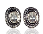 Art Deco Earrings 1.00 Ct Natural Certified Diamond 925 Sterling Silver Vacation